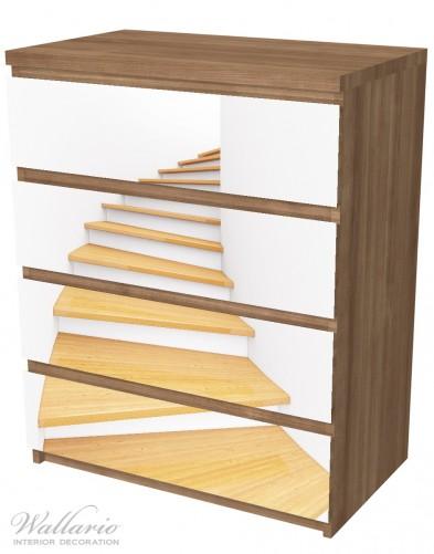 Möbelfolie Wendeltreppe aus hellem Holz – Bild 6