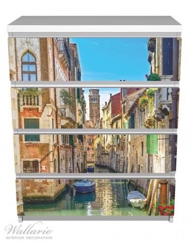 Möbelfolie Urlaub in Venedig, Kanal zwischen bunten Häusern – Bild 2