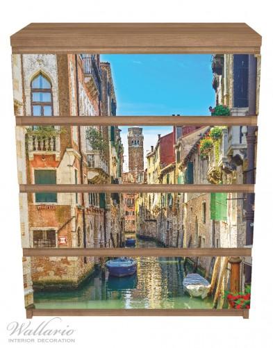 Möbelfolie Urlaub in Venedig, Kanal zwischen bunten Häusern – Bild 3