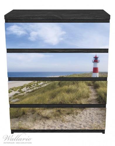 Möbelfolie Am Strand von Sylt, Leuchtturm auf der Düne, Panorama – Bild 1