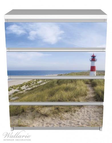 Möbelfolie Am Strand von Sylt, Leuchtturm auf der Düne, Panorama – Bild 2