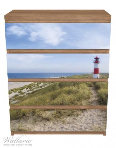 Möbelfolie Am Strand von Sylt, Leuchtturm auf der Düne, Panorama – Bild 3