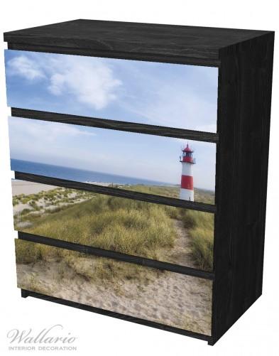 Möbelfolie Am Strand von Sylt, Leuchtturm auf der Düne, Panorama – Bild 4