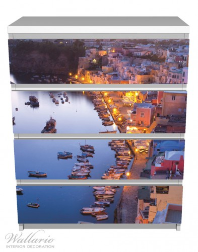 Möbelfolie Hafen bei Nacht - Italien hell erleuchtet – Bild 2