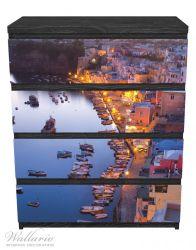 Möbelfolie Hafen bei Nacht - Italien hell erleuchtet – Bild 1