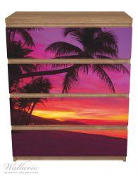 Möbelfolie Abendrot unter Palmen - pinker Himmel am Strand – Bild 3
