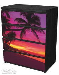 Möbelfolie Abendrot unter Palmen - pinker Himmel am Strand – Bild 4