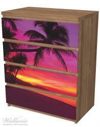 Möbelfolie Abendrot unter Palmen - pinker Himmel am Strand – Bild 6