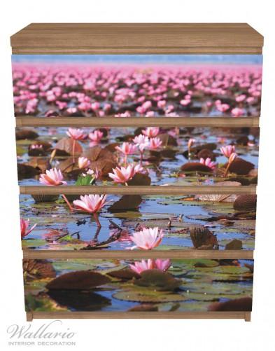 Möbelfolie Seerosenlandschaft mit rosa Blüten – Bild 3