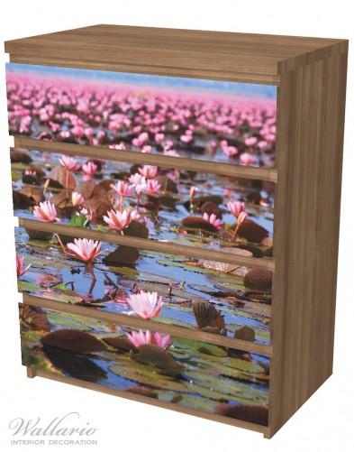 Möbelfolie Seerosenlandschaft mit rosa Blüten – Bild 6