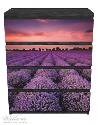 Möbelfolie Lavendelfeld unter rotem Himmel – Bild 1