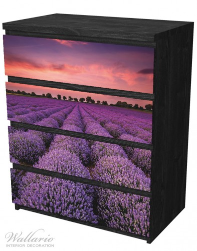 Möbelfolie Lavendelfeld unter rotem Himmel – Bild 4