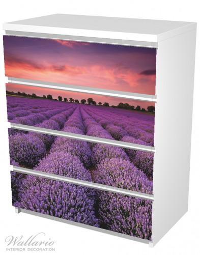 Möbelfolie Lavendelfeld unter rotem Himmel – Bild 5
