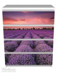 Möbelfolie Lavendelfeld unter rotem Himmel – Bild 2