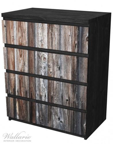 Möbelfolie Alte Holzwand - Holzplanken in grau und braun – Bild 4