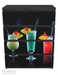 Möbelfolie Bunte Cocktails vor schwarzem Hintergrund – Bild 1