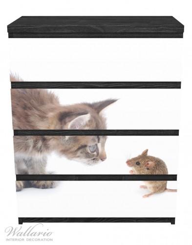 Möbelfolie Katze und Maus beim Spielen - weißer Hintergrund – Bild 1