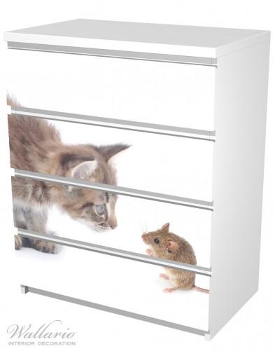 Möbelfolie Katze und Maus beim Spielen - weißer Hintergrund – Bild 5