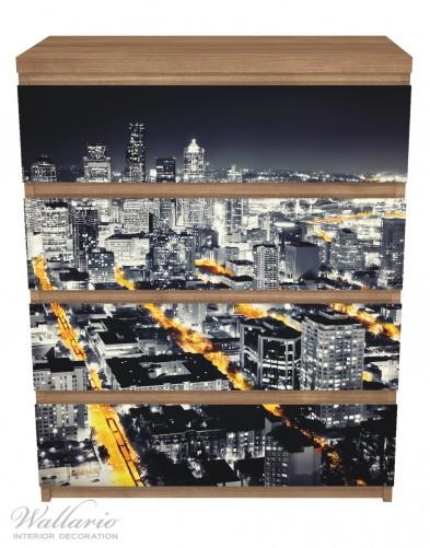 Möbelfolie Großstadt bei Nacht - Seattle in schwarz weiß gelb – Bild 3