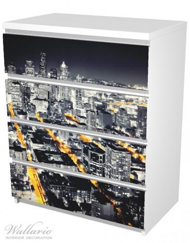 Möbelfolie Großstadt bei Nacht - Seattle in schwarz weiß gelb – Bild 5