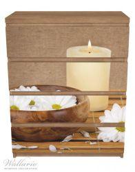 Möbelfolie Stillleben - Kerzen und Blumenblüten in Holzschale – Bild 3