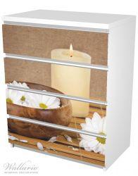 Möbelfolie Stillleben - Kerzen und Blumenblüten in Holzschale – Bild 5