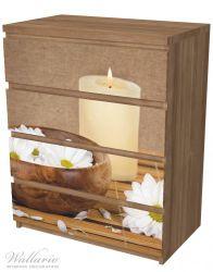 Möbelfolie Stillleben - Kerzen und Blumenblüten in Holzschale – Bild 6