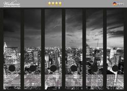 Ordnerrücken Sticker New York bei Nacht - Panoramablick über die Stadt - schwarzweiß
