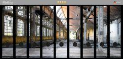Ordnerrücken Sticker Alte Industriehalle, leerstehend und einsam
