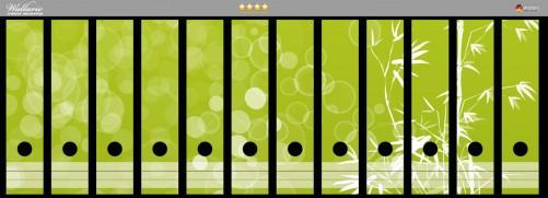 Ordnerrücken Sticker Bambusmuster grün-weiß