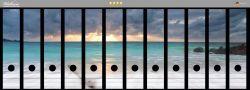 Ordnerrücken Sticker Wellen am Strand bei Sonnenuntergang