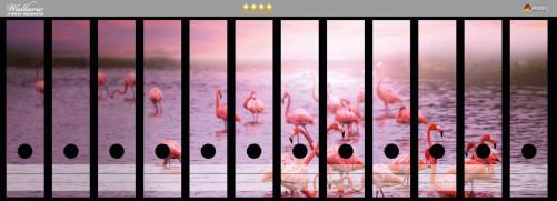 Ordnerrücken Sticker Rosa Flamingos bei Sonnenuntergang