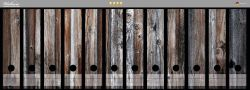 Ordnerrücken Sticker Alte Holzwand - Holzplanken in grau und braun