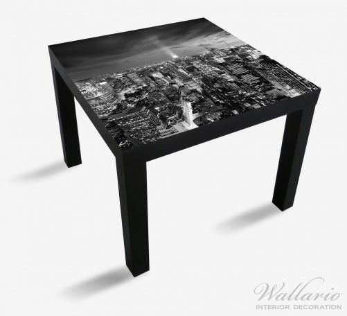 Möbelfolie New York bei Nacht - Panoramablick über die Stadt - schwarzweiß – Bild 1