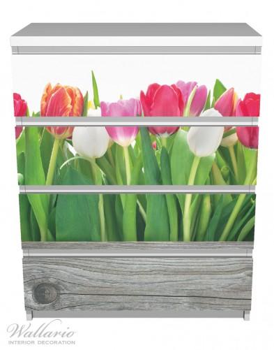 Möbelfolie Rote, weiße und pinke Tulpen im Frühling – Bild 2