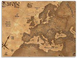 Glasunterlage Alte Weltkarte   Karte von Europa in englisch – Bild 1