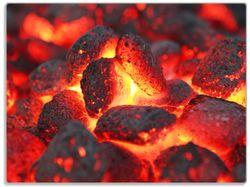 Glasunterlage Glühende Kohlen im Kamin – Bild 1