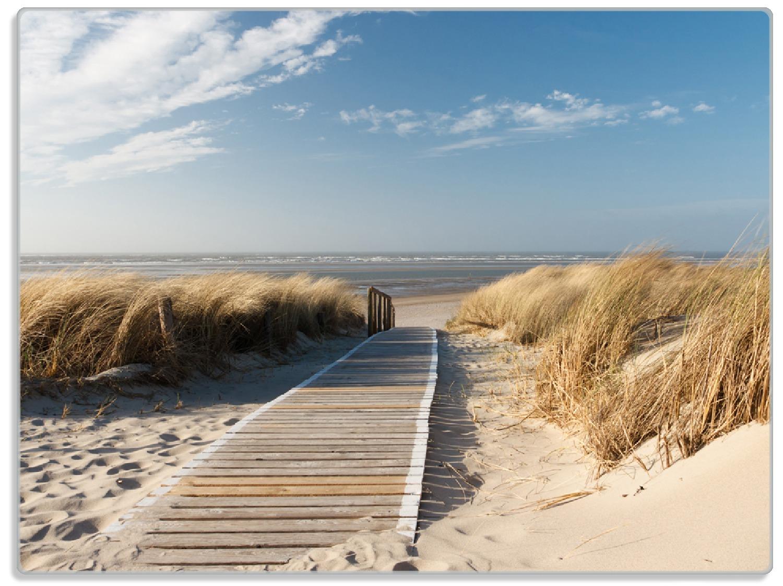 Glasunterlage Auf dem Holzweg zum Strand – Bild 1