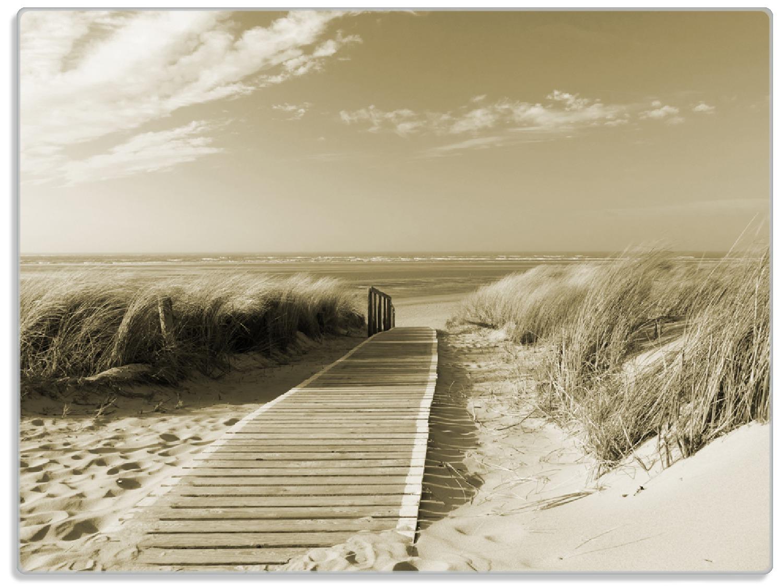 Glasunterlage Auf dem Holzweg zum Strand in Sepiafarben – Bild 1