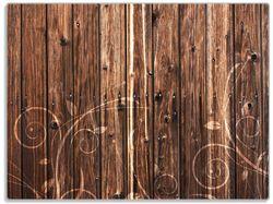 Glasunterlage Holz in dunkelbraun mit Blumenmuster - Schnörkel – Bild 1