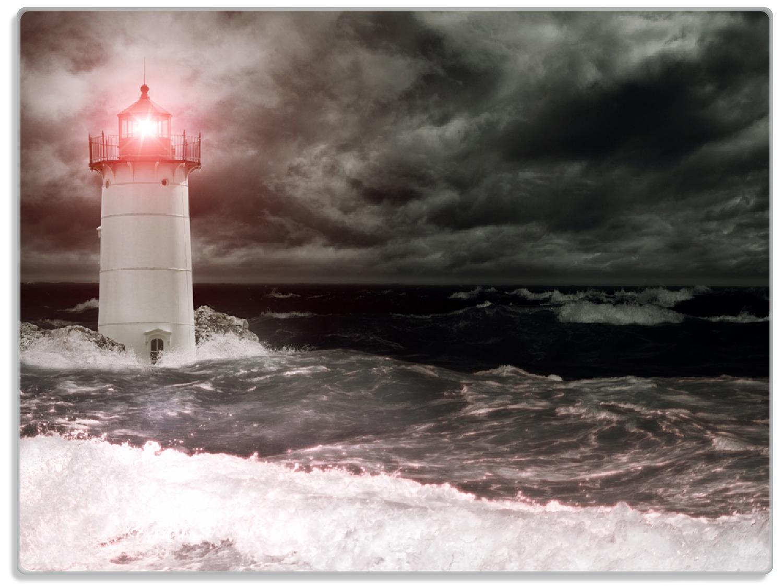 Glasunterlage Leuchtturm im Wasser bei stürmischer See – Bild 1
