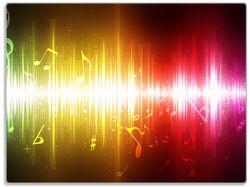 Glasunterlage Rot-pinke Noten der Musik – Bild 1