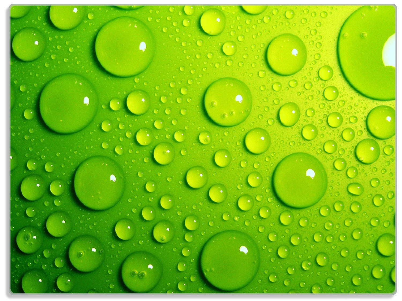 Glasunterlage Wassertropfen auf Grün – Bild 1