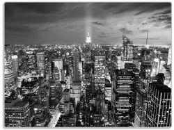 Glasunterlage New York bei Nacht - Panoramablick über die Stadt - schwarzweiß – Bild 1