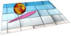 Glasunterlage Blau-weiße Kisten, Schachteln, Muster – Bild 2