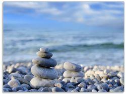 Glasunterlage Steinstapel am Strand – Bild 1