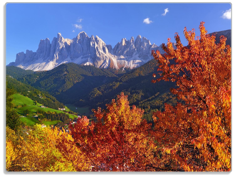 Glasunterlage Herbst im Gebirgstal unter blauem Himmel – Bild 1