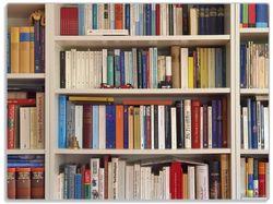 Glasunterlage Weißes Bücherregal mit unterschiedlichen Büchern – Bild 1