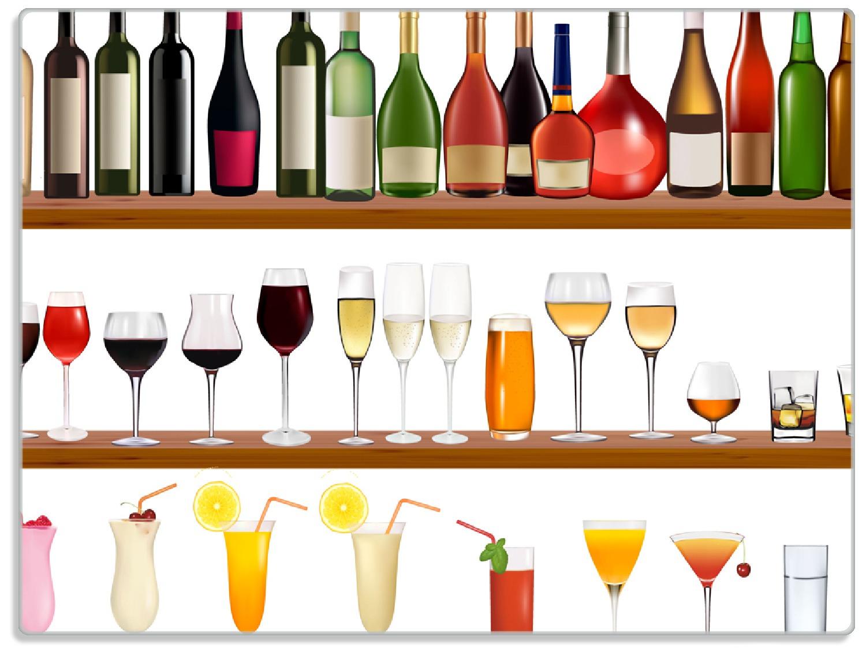 Glasunterlage Schnapsregal mit vielen bunten Flaschen – Bild 1