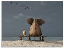 Glasunterlage Elefant und Hund sitzen auf einer Bank – Bild 1